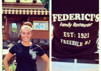 Shanna Federici (4th generation) advertising our t-shirt's for sale.
