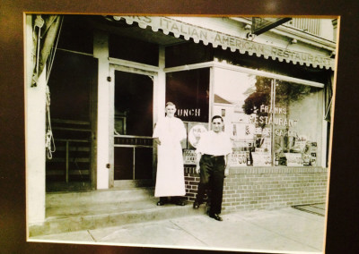 "Pop Federici before World War II (notice window says ""Frank's Beer Garden"")."